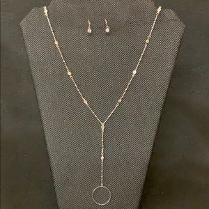 Cubic zirconia crystal stone necklace earrings